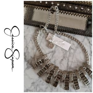 Jessica Simpson silver colored diamond necklace